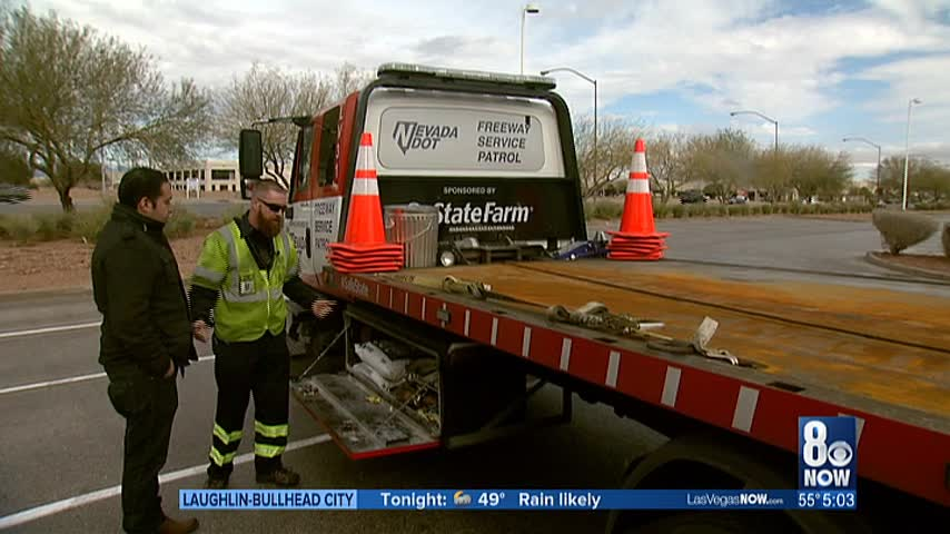 Wet conditions kept NDOT's Freeway Service Patrol busy Friday