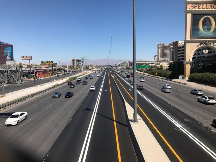 HOV lane on I-15 near the Harmon overpass