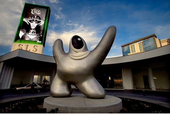 """Khe statue known as """"Saam"""" is kind of a cross between a silver starfish and spaceman."""