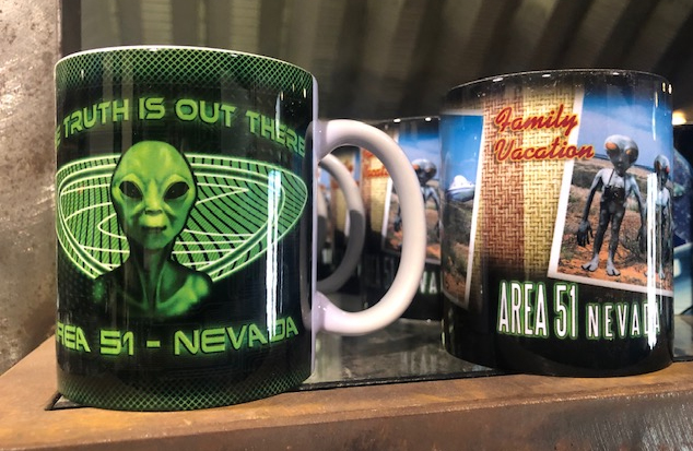 Merchandise for sale at the Alien Visitors Center in Hiko. (KLAS-TV)