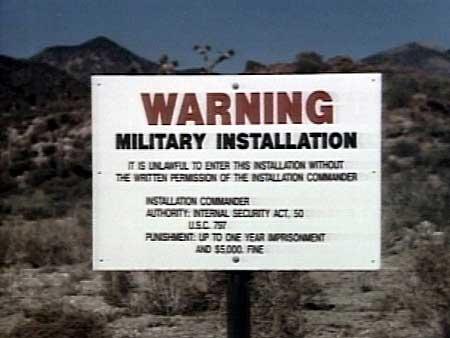 Signs at Area 51 warn people against trespassing. (KLAS-TV)