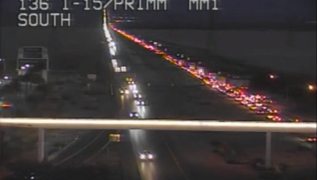 I-15 southbound backed up to Primm