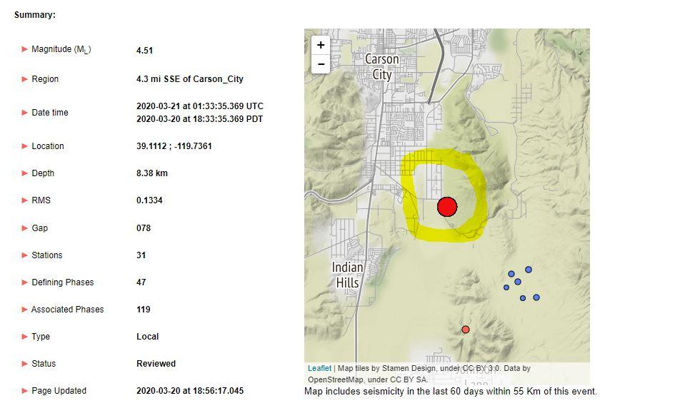 4 5 Magnitude Earthquake Hits Carson City Klas