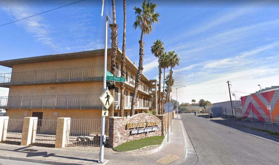 Google Maps image of the corner of Las Vegas Boulevard and Bonanza Road. Siegel Suites is located at 700 Las Vegas Boulevard.