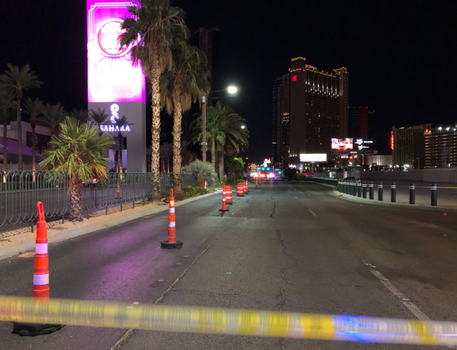 Las Vegas Boulevard closed at Sahara Avenue following a police pursuit and deadly shooting Sept. 9, 2020.