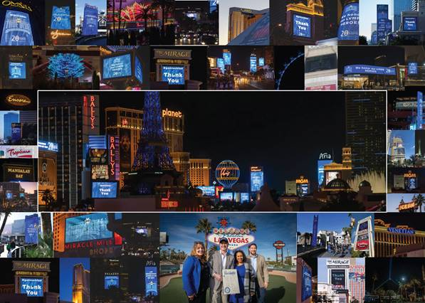 Marquees on Las Vegas Strip and downtown properties light up blue in support of law enforcement