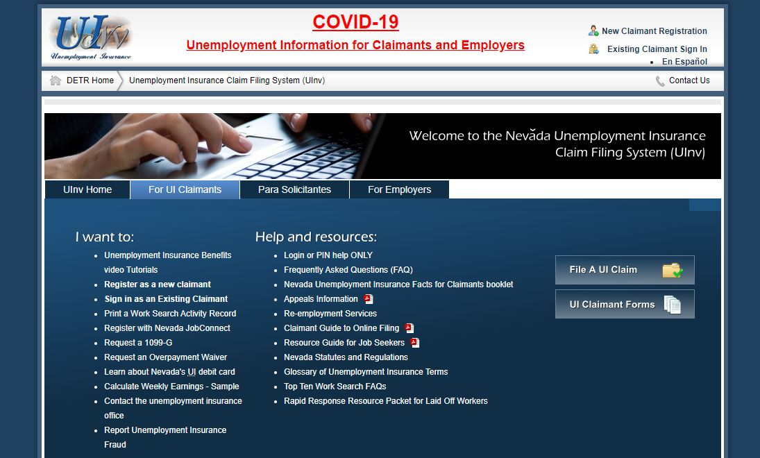 Department of Employment, Training and Rehabilitation Website Unemployment insurance web page errors for some claimants